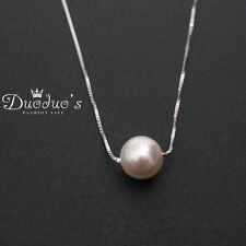 925 Sterling Silver 8mm Round Off-White Pearl Pendant Necklace
