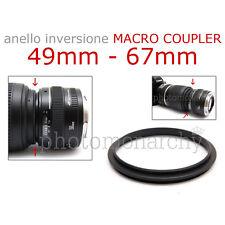 Anello MACRO COUPLER adattatore INVERSIONE 49mm - 67mm 49 67 Canon Nikon Sony
