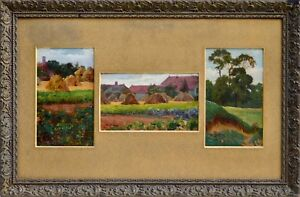 """Tableaux anciens, """"Trois huiles de paysage daté 1909"""", signature a déchiffré."""