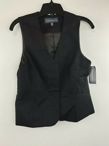 American Airlines Womens Dark Charcoal V Neck Vest Jacket Size 0 Pet