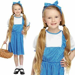 KIDS COUNTRY GIRL DOROTHY COSTUME KANSAS FAIRYTALE FANCY DRESS BOOK WEEK OUTFIT