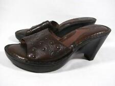 Born Studded Wedge Slide Sandal Women size 7 m Brown Leather