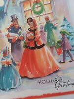 UNUSED Vtg 1950s BLACK AMERICAN FAMILY CHRISTMAS Sidewalk Stroll GREETING CARD