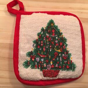 "CHRISTMAS TREE ""Red"" Beautiful Pot Holder Festive Kitchen Oven Mitt Cloth"