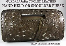 Guadalajara Mexican~Cut Out~BROWN~Tooled leather~Shoulder/ Hand Held Purse