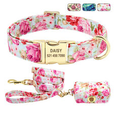 Floral Personalized Dog Collar and Leash set & Dog Poo Bag Dispenser ID Collars