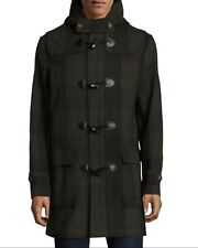 NEW Penguin Hooded Plaid Checkered Military Peacoat Jacket