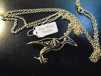 """SKELETON and BIRD NECKLACE BRASS / BRONZE RAVEN 33"""" GOLD chain GOTHIC JEWELLERY"""
