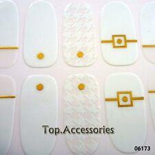 White/ Gold Nail Art tips Sticker Decal Full Wraps Acrylic #06173 Free P&P
