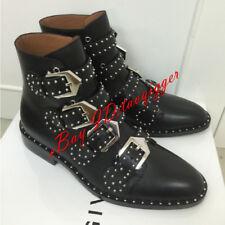 Women Black Punk Leather Studded Buckle Strap Riding Ankle Boots Shoes Plus Size