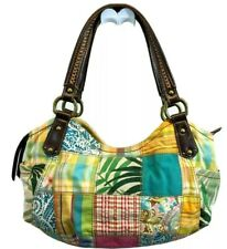 FOSSIL PATCHWORK  Handbag SATCHEL Bag Purse BROWN CANVAS FAUX LEATHER TRIM MED