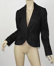 TRINA TURK Dark Gray Pinstriped Cutaway Front Stretch Cotton Blazer Jacket M 8