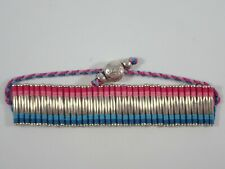 LINKS OF LONDON 925 STERLING SILVER TURQUOISE/PINK CORD FRIENDSHIP CUFF BRACELET