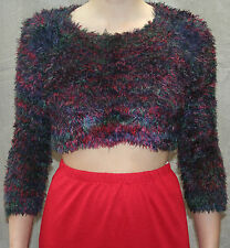 Ladies Girls Hand Knitted Top Cropped Short Jumper S/M Soft Fluffy Dark Multi