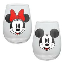 Mickey Minnie Mouse Glass Cup Set 2 Contour Tumbler Classic Disney 18 oz  Gift