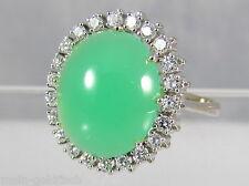 Damen Ring 18K 750 Weißgold Chrysopras 22 Brillanten 0,66 ct VVS Wesselton Gr 57
