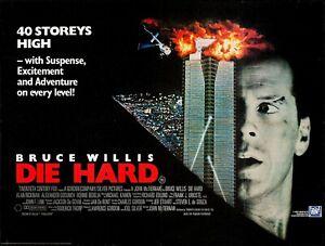 """DIE HARD - Bruce Willis UK Cinema repro quad poster 30x40""""  FREE P&P"""