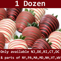 1 Dozen Chocolate Covered Strawberries Red Drizzle with delivery date selection