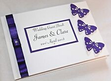 Personalised butterfly guest book A5. White or ivory/cream + your colours