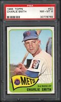 1965 TOPPS #22 CHARLIE SMITH NEW YORK METS PSA 8 NM/MT