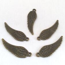 LOT de 12 PENDENTIFS perles breloque BRONZE grandes AILES d'ange oiseau 30x9,5mm