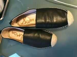 Sam Edelman Women's Kesia Leather Slip-On Espadrilles - Black US 7.5 7 1/2 M