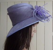 Jacques Vert Lilac Mother of Bride hat with feather burst detail at front