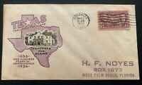 1936 Washington DC USA Patriotic First Day Cover FDC Remember The Alamo