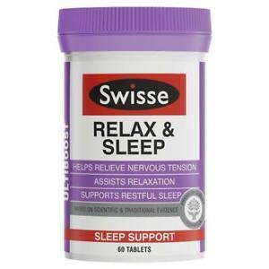 SWISSE RELAX & SLEEP 60 TABLETS ULTIBOOST RELIEVE NERVOUS TENSION RESTFUL SLEEP