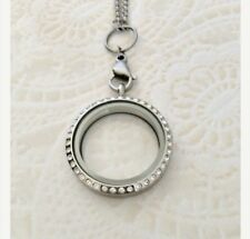 Large 30mm Memory Locket Necklace Stainless Steel With Chain