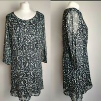 M&S INDIGO WomenDress Print Floral Chiffon Skater Navy Mix Casual Office UK 14