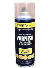 Multi-Purpose Clear Gloss Varnish Spray Paint DIY Car Metal Plastic Wood 400ml