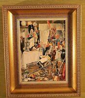 """""""IM Kasino"""" v Victor Roesner1982  (Uniformmaler1929-1998) Öl/ Platte 25 x19cm"""