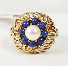 Ring in 585 Gold mit Zuchtperle und Lapislazuli