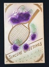Antique Embossed Postcard Tennis Racket Purple Flowers Sincere Greetings 1910