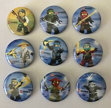 NEW Lot of 9 Lego Ninjago Badges - 3cms diameter - for party loot bags favours