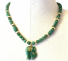 "Big Chunky Apple Green Natural Jade 14K Gold Elephant Estate Necklace 21.5""L"