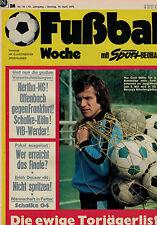 Fußball Woche 16/1975,SCHALKE 04 POSTER,SV Sodingen 1912,Corolla 1200 Toyota
