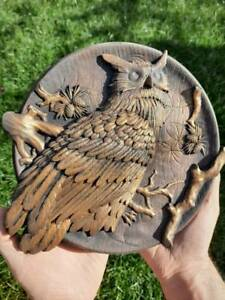 Owl  Ornament Wood Carved Plaque WALL HANGING ART WORK HOME DECOR