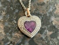Brighton NEPTUNE'S RINGS Purple HEART AMETHYST  NECKLACE / Dust Bag $88