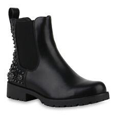 Damen Stiefeletten Chelsea Boots Biker Booties Nieten Strass 832017 Schuhe