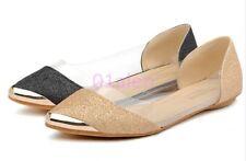Women Flats Slip On Loafer Clear Transparent Sequins Dress Pump Summer Shoes New