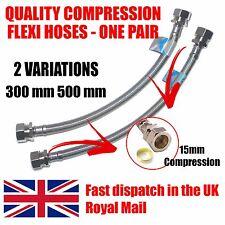 15mm Flexible Compression Connectors Kitchen/ Basin Pipe Hoses 1 Pair 500mm