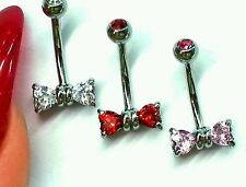 """Rook Eyebrow Belly Curved Bar Earring Jewelry 16g 5/16"""" CZ Bow Piercing"""