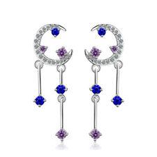 Crystal Crescent Stud Drop Earrings 925 Sterling Silver Blue Purple Austrian