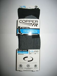 Copper Fit Sport Compression Grey Crew Socks 2pk Unisex L/XL M 9-12 W 10-13