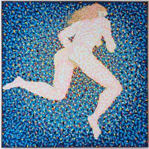 "Hermann-Josef Kuhna,""VERLASSEN"" Öl auf Leinwand, 1980, Galerie Gmyrek, 121x121cm"