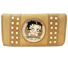 Betty Boop Ladies Tan Beige Leather Checkbook Wallet with Crystal Rhinestones