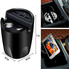 3 USB Port+2 Cigarette Expansion Output Car Charger Mount Holder Mobile Phone