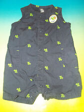Carters Just One Year Baby Boys Romper BUG CATCHING CHAMP Frog Navy Blue Sz 9M
